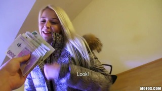 Beautiful blonde curve Karol walks on the streets and thinks about sex Thumbnail