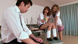 Schoolgirls Double Team The Teacher Thumbnail