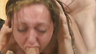 Brunette Sucking Dick And Doggystyled In Rough Threesome Thumbnail