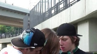Awesome PUBLIC teens group street sex act orgy gangbang in broad daylight Thumbnail