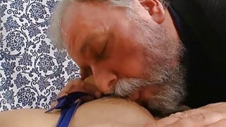 Young playgirl takes old nasty wang in her mouth Thumbnail