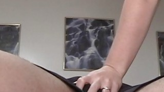 Girl sucks and strokes on mans cock and finally gets him off. Thumbnail