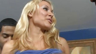 Big boobs blonde babe interracial gangbang on the couch Thumbnail