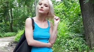 Tight Czech babe flashes tits and banged in the woods Thumbnail