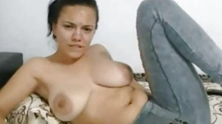 Big Tit latina Fingers pussy Under The Jeans Thumbnail