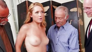 Raylin Ann swallows three old cocks on her knees Thumbnail