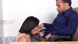 Kitty Caprice offers her boss a blowjob to keep her job Thumbnail