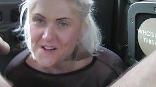 British blonde deep throats and bangs in cab Thumbnail