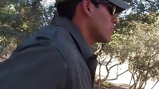 Amateur sluts go down on each other while border patrol agent bangs them in threesome Thumbnail