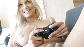 Gamer girlfriend is a hot teen fucking on the couch Thumbnail