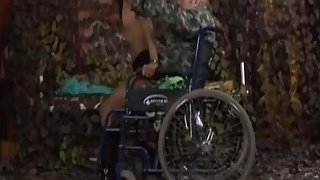 Old guy in wheelchair licks and fingers shaved pussy Thumbnail