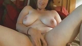 Chubby Brunette Cougar Enjoys Toying Hairy Pussy Thumbnail