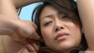 Asian black haired girlie Hina Aisawa gets to know good pussy vibrations Thumbnail