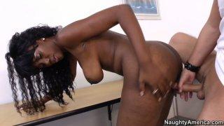 Curvy black teacher Nyomi Banxxx gets fucked in doggy style Thumbnail