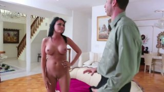 Nudist Ashli Ames gets complains about swimming naked in a pool so she sucks the cock to fix the problem Thumbnail