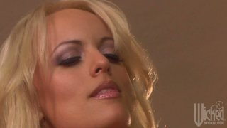 Sexy blonde whore Stormy Daniels gets her pussy licked upskirt Thumbnail