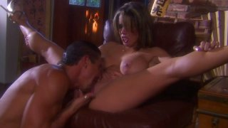 Busty black head Maya Gates gets a hot cunnilingus on the couch Thumbnail